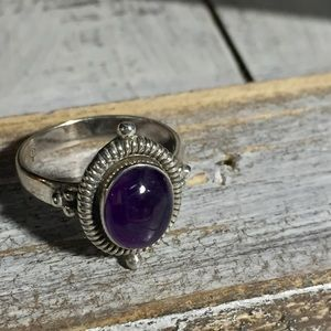 Sterling silver purple stone ring 8